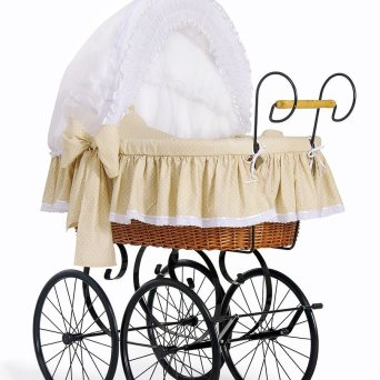 MY SWEET BABY Retro wicker crib Christine - Weiss -creme